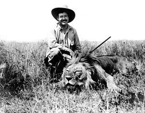 Ernest Hemingway on safari, Africa. January, 1934.