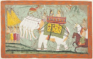 English: Indra and Sachi Riding the Divine Ele...