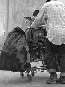Homeless person, with shopping cart