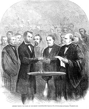 Lincoln taking the oath at his second inaugura...