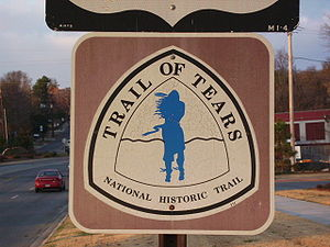 Trail of Tears sign on Hwy 71 through Fayettev...