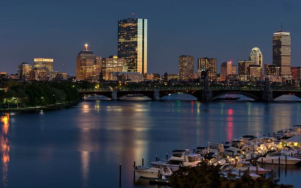 Boston skyline from Museum of Science garage roof