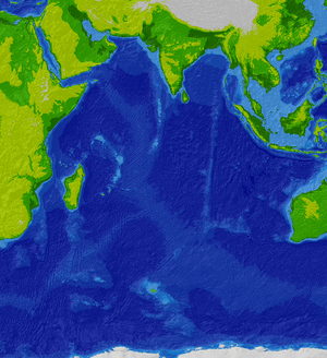 Bathymetric map of the Indian Ocean