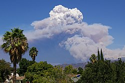 A pyrocumulus cloud from the August 2009 Station fire in southern California.