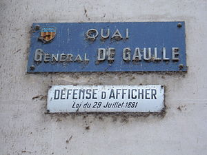 A sign for the Quai General de Gaulle in Amboi...