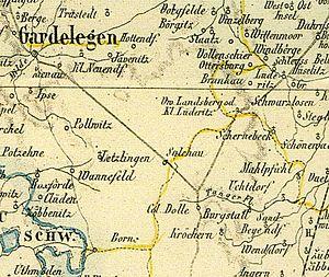 Alte Karte der Region um Salchau, Colbitz-Letz...