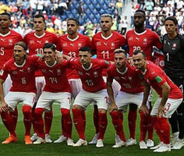 The Switzerland National Team Line Up Before The Game Against Sweden On  In Saint Petersburg At The World Cup Switzerland