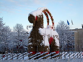 The 2009 Gävle Christmas Goat.