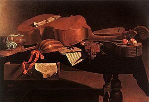 Baroque instruments including hurdy gurdy, har...