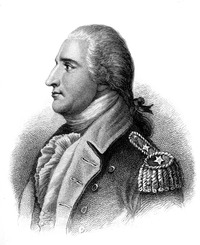 A head and shoulders profile engraving of Benedict Arnold. He is facing left, wearing a uniform with two stars on the shoulder epaulet. His hair is tied back.
