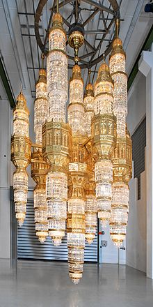 Chandelier   Wikipedia One of the largest chandeliers in the world ever produced for the Al Ameen  Mosque in Muscat  Oman  shortly before delivery