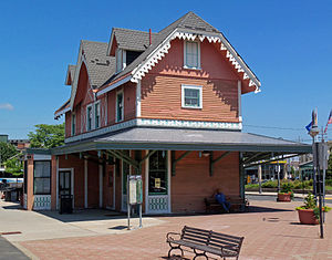 Old train station building, Red Bank, NJ, USA