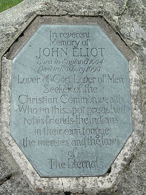 John Eliot marker, near the Eliot Church of So...