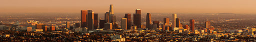 Los Angeles downtown sunset cityscape