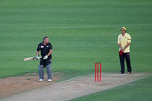 Martin Crowe preparing to bat during a charity...