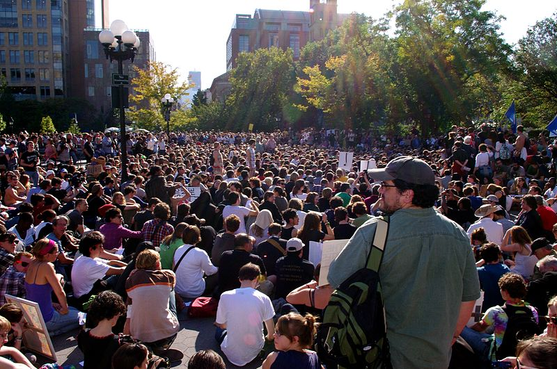 General Assembly meeting of the Occupy movement in Washington Square Park, New York City, USA, on 8 October 2011.