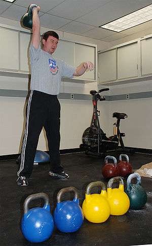 English: Russian kettlebell champion Valery Fe...