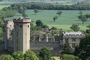 Warwick Castle seen from St Mary's Church in W...