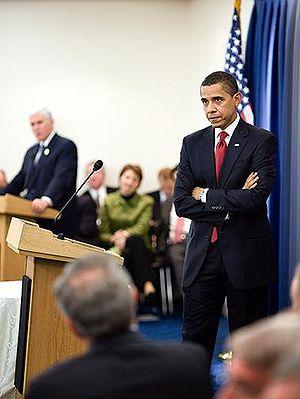 On Capitol Hill, President Barack Obama listen...