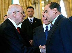 Italiano: Il Presidente Giorgio Napolitano str...