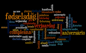 English: Word cloud of the translations of &qu...