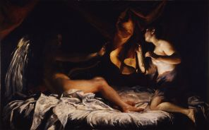 Giuseppe Maria Crespi painting of Psyche discovering cupid's true form, from Uffizi gallery in Florence