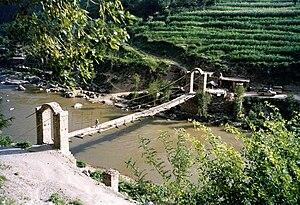 Footbridge on the Indus River, Pakistan