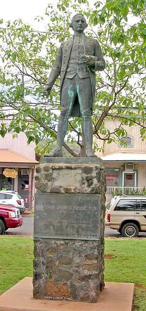 A statue of James Cook stands in Waimea, Kauai...