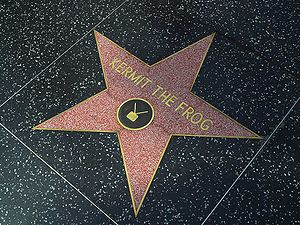 Kermit the frog in the Hollywood walk of fame,...