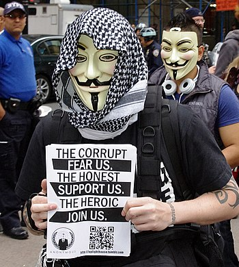 English: A member of Anonymous at the Occupy W...