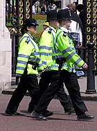 A PCSO on duty with two police constables. Note the blue epaulettes and cap badge