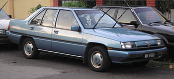 The front of a first generation Proton Saga, i...
