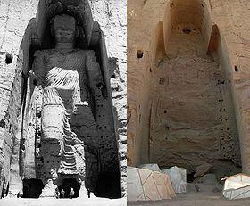 La statue du grand Bouddha avant et après sa destruction en mars 2001