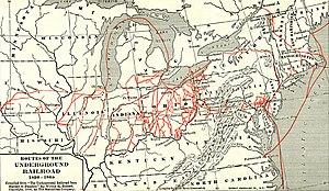 English: Whole map of the underground railroad...