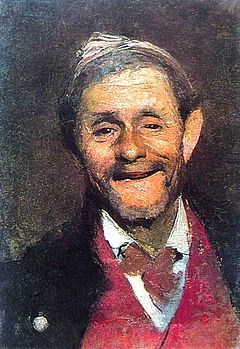 A. Beridze. A Smiling Old Man. Oil on canvas