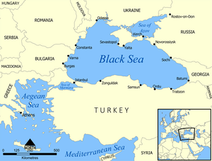 A map showing the location of the Black Sea an...