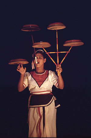 Dancer with spinning plates - Kandy, Sri Lanka...