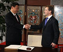 Xi Jinping with Russian PresidentDmitry Medvedev on 28 September 2010.