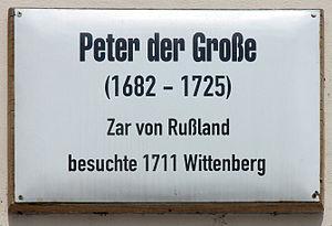 Deutsch: Gedenktafel, Peter der Große, Coswige...