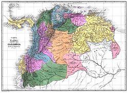 Mapa de la otrora Gran Colombia.