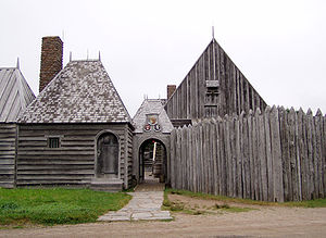 Replica of Champlain's habitation at the Port-...