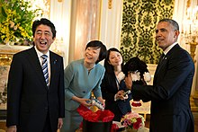 Prime Minister Abe with then US President Barack Obama in Tokyo in April 2014