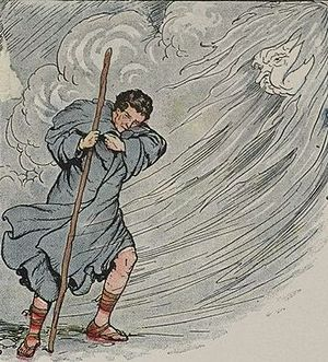The wind attempts to strip the traveler of his...