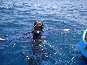 English: Scuba diving with mask and snorkel.