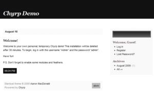English: Screenshot of the Chyrp blogging soft...