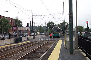 The MBTA Green Line C Branch station at Clevel...