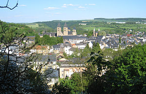 English: Looking east across Echternach.
