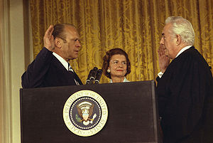 The swearing in of President Gerald Ford by Su...