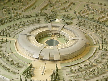 A model of the GCHQ headquarters in Cheltenham