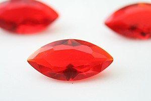 Red Marquise cut glass gemstones. 14x7mm
